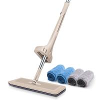 佰宁免手洗平板拖把 拖布擦木地板瓷砖旋转墩布 自挤水拖把标配4块拖布