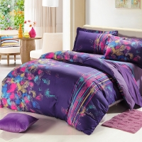 SAINTMARC罗莱生活出品 纯棉四件套 全棉床品套件床上用品床单被套 夜色霓虹W-SA246-4 尚玛可220*240