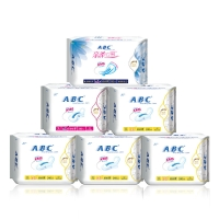 ABC超薄零触感防漏卫生巾6包(日32片+夜8片+超长夜用3片 新旧包装随机发货)