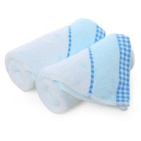 金號 毛巾家紡 無捻提緞繡毛巾3166WH兩條裝藍色