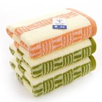 金号 床品家纺 赤金素条2183纯棉毛巾绿棕3条装