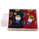 金号毛巾家纺纯棉提花割绒富贵花开结婚情侣款面巾G1756红蓝两条装礼盒