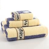 金號家紡 純棉緞檔毛巾方巾浴巾3件套 11011