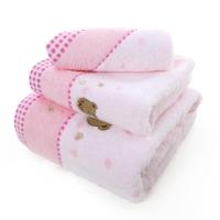 金號 床品家紡 無捻小熊刺繡3166純棉毛巾、方巾、浴巾組合 粉色