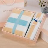 金號 純棉家紡組合禮盒裝GA1014方塊無捻提緞毛巾 浴巾盒裝 藍色 贈手提袋