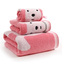 金號純棉無捻毛巾方巾浴巾組合三件套G1850WH/G6850WH/G3850WH紅色