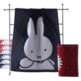 金号 双层无捻提缎卡通米菲兔纯棉面巾 MF1064W 红蓝两条装