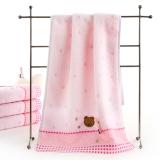 金號 毛巾家紡 無捻提緞繡毛巾3166WH兩條裝粉色
