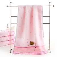金号 毛巾家纺 无捻提缎绣毛巾3166WH两条装粉色