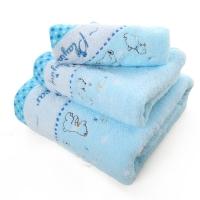 金号 床品家纺 纯棉无捻5146毛巾、方巾、浴巾组合 蓝色