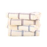 金号简约时尚方格纯棉面巾01122紫蓝绿混色三条装