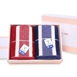 金号纯棉花式线提缎割绒两条毛巾礼盒G1744红蓝两色