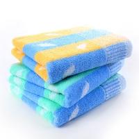 金号 床品家纺 金笛小树叶提花A005纯棉毛巾3条装绿黄色