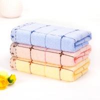 金号素色浮线简洁格子纯棉面巾01131红黄蓝混色三条装