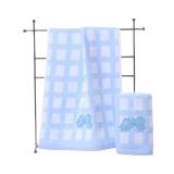 金号 毛巾家纺 无捻提缎绣毛巾4162WH两条装蓝色