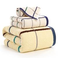 金號家紡 純棉方格毛巾方巾浴巾3件套 9106