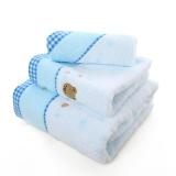 金号 毛巾家纺 无捻小熊刺绣3166纯棉毛巾、方巾、浴巾组合 蓝色