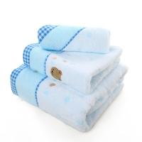 金號 毛巾家紡 無捻小熊刺繡3166純棉毛巾、方巾、浴巾組合 藍色