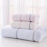 金号毛巾家纺 纯棉条纹毛巾浴巾套装 一条浴巾+两条毛巾
