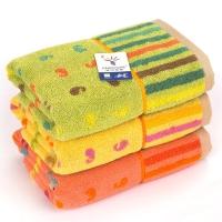 金号纯棉提缎炫动音符逗号面巾G1468黄桔绿三条装