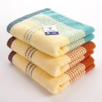 金号 毛巾家纺 缎彩条毛巾0120三条装棕、绿