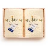 金號純棉清新淡雅玫瑰花兩條毛巾禮盒2185H黃色