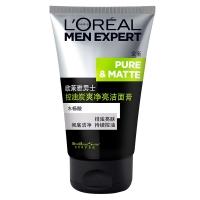 欧莱雅(LOREAL)男士控油炭爽净亮洁面膏100ml(男士洗面奶 洁面乳 控油保湿 提亮皮肤)