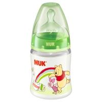 NUK宽口径迪士尼PP奶瓶150ml配防胀气奶嘴(1号硅胶中圆孔奶嘴)绿色(图案随机)【德国品质】