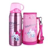 Hello Kitty凯蒂猫婴儿童保温水杯 乐学便携卡通水壶 (含杯套)600ML 透明粉