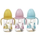 婴儿奶瓶宽口有柄吸管240MLPPSU RK-3165(颜色随机)