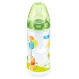 NUK宽口径迪士尼PP奶瓶300ml配防胀气奶嘴(1号硅胶中圆孔奶嘴)绿色(图案随机)【德国品质】