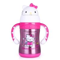 HELLO KITTY 凯蒂猫儿童保温杯 宝宝萌趣多色学饮杯不锈钢保温吸管水杯 220ML 透明粉