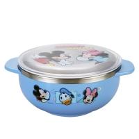 迪士尼(Disney)米奇不锈钢儿童餐具 双耳小碗婴儿饭碗(配盖)