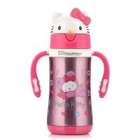 Hello kitty 凯蒂猫儿童保温吸管杯 卡通双柄学饮水杯 300ML 透明粉