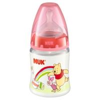 NUK宽口径迪士尼PP奶瓶150ml配防胀气奶嘴(1号硅胶中圆孔奶嘴)红色(图案随机)【德国品质】