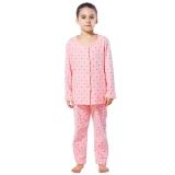 红豆(Hodo)儿童纯棉家居服套装女中大童卡通印花睡衣HD6J222粉红160
