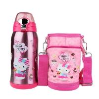 HELLO KITTY 凯蒂猫婴儿童保温吸管水壶 时尚宽嘴便携水杯(含杯套)600ML 透明粉