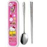 【韩国进口】乐扣乐扣 HELLO KITTY 婴幼儿不锈钢勺子筷子盒子套装(粉色)LKT003