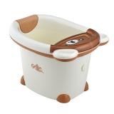 日康 儿童浴桶 宝宝洗澡盆 婴儿浴盆 适用于0-6岁 米色小熊 RK-X1001-3