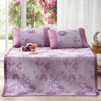 多喜愛(Dohia)涼席 雙人加大冰絲空調涼席三件套 花團錦簇 紫色 1.5*2米