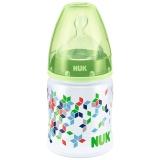 NUK宽口径PP奶瓶150ml配防胀气奶嘴(1号硅胶中号圆孔奶嘴)绿色(图案随机)【德国品质】
