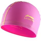 李宁 LI-NING 儿童泳帽 PU游泳帽涂层 柔软舒适可爱 男女童 LSJL863粉色