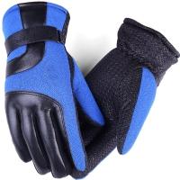 博沃尼克 加绒加厚手套男冬季保暖手套 摩托车防风骑车骑行手套 蓝色