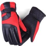 博沃尼克 加绒加厚手套男冬季保暖手套 摩托车防风骑车骑行手套 红色