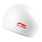 李宁 LI-NING 男女游泳帽 PU涂层长发防水泳帽 护耳舒适不嘞头 LSJL856 白