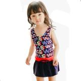 奇海(QIHAI)6614-8儿童连体裙式泳衣可爱字母时尚显瘦温泉泳装女童藏蓝色M码