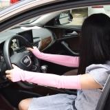 捷昇 冰袖女士男士通用袖套夏季运动透气防晒袖套开车冰凉臂袖 粉色一对装