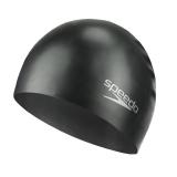 速比涛speedo 训练泳帽 舒适游泳帽 男女成人硅胶泳帽 黑色11401399