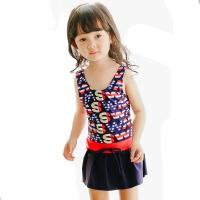 奇海(QIHAI)6614-8儿童连体裙式泳衣可爱字母时尚显瘦温泉泳装女童藏蓝色XL码