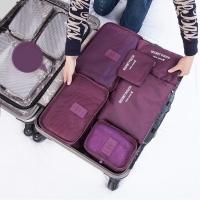 四万公里 旅行收纳袋防水行李分装整理包 出差衣物收纳整理袋内衣收纳包 6六件套装 SW1003 酒红色